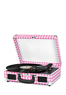 Victrola Suitcase Turntable - Pink Gingham