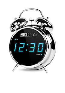 Victrola Classic Chrome Twin Bell Alarm Clock with Digital Display
