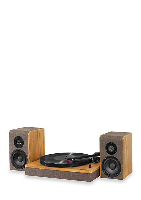 Wood and Linen Fabric Bluetooth Record Player with 3-Speed Turntable