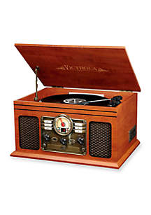 6-in-1 Nostalgic Bluetooth Record Player with 3-Speed Turntable
