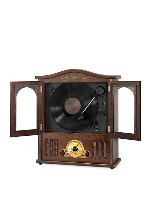 Wood Wall Mount Record Player with CD and Bluetooth
