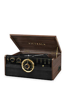 Victrola 6-in-1 Wood Bluetooth Mid Century Record Player with 3-Speed Turntable, CD, Cassette Player, and Radio