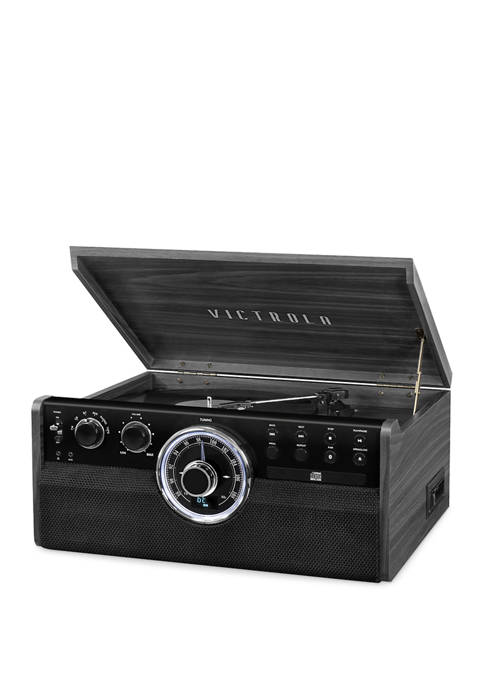 6-in-1 Wood Bluetooth Mid Century Record Player with 3-Speed Turntable, CD, Cassette Player and Radio