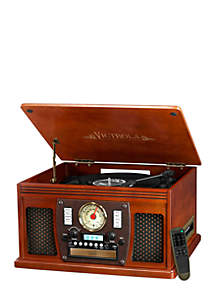 Wood 8-in-1 Nostalgic Bluetooth Record Player with USB Encoding and 3-Speed Turntable