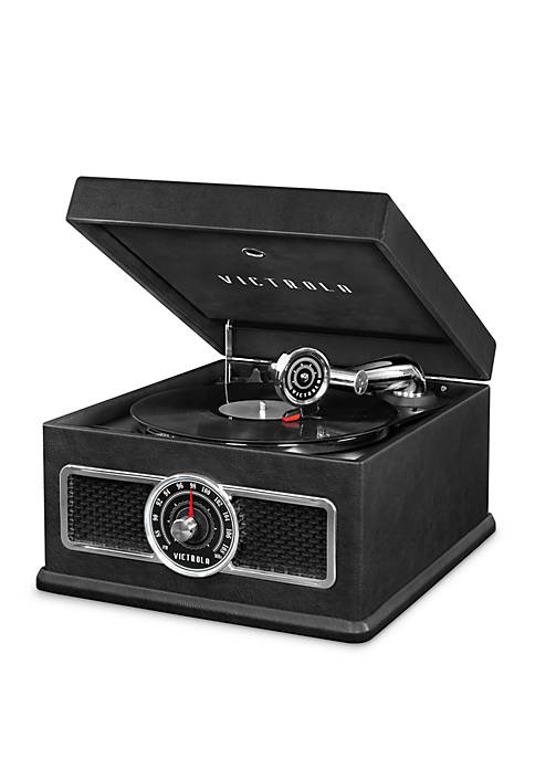 5-in-1 Nostalgic Bluetooth Record Player with CD, Radio, Record Storage, and 3-Speed Turntable