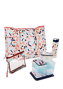 West Hampton Insulated Summer Tote with Lunch on the Go Container Set