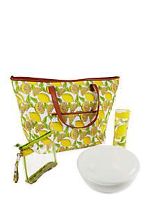 Marblehead Insulated Summer Tote with Chilled Serving Bowl, 20-oz. Water Bottle and Wristlet