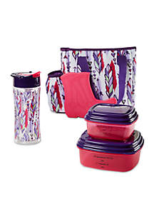 Leslie Insulated Lunch Bag Kit with Container Set and Water Bottle