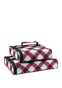 Holiday Plaid Casserole Carrier Set of 2