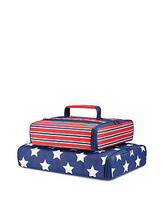 Americana Stripe and Navy Star Spangled Insulated Casserole Carrier Set