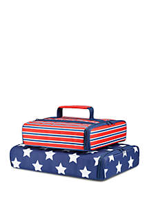 Fit & Fresh Americana Stripe and Navy Star Spangled Insulated Casserole Carrier Set
