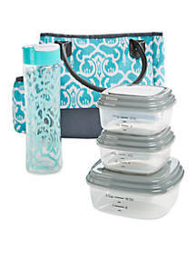 Mcallen Lunch Kit - Aquamarine Ikat Damask