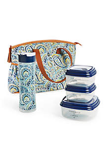 Camden Blue Lunch Bag with Portion Control Container Set and Water Bottle