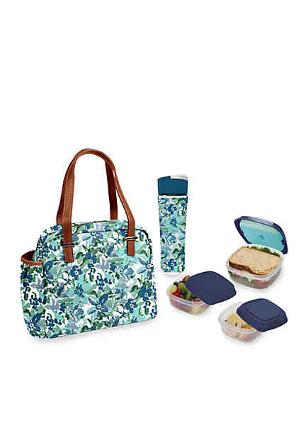 Fit Fresh Laketown Insulated Lunch Bag Kit With Reusable Container Set And 20oz Water Bottle