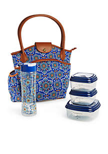 Sumter Navy Lunch Bag with Portion Control Container Set and Water Bottle