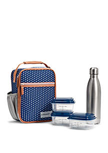 Fit & Fresh Navy White Dot Thayer Insulated Lunch Bag Kit