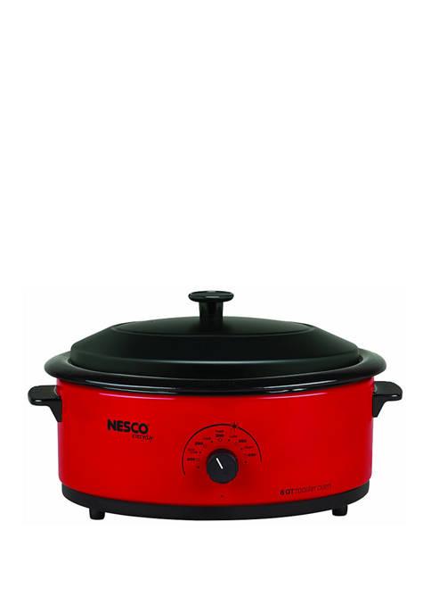 Nesco 6 Quart Red Roaster Oven with Porcelain