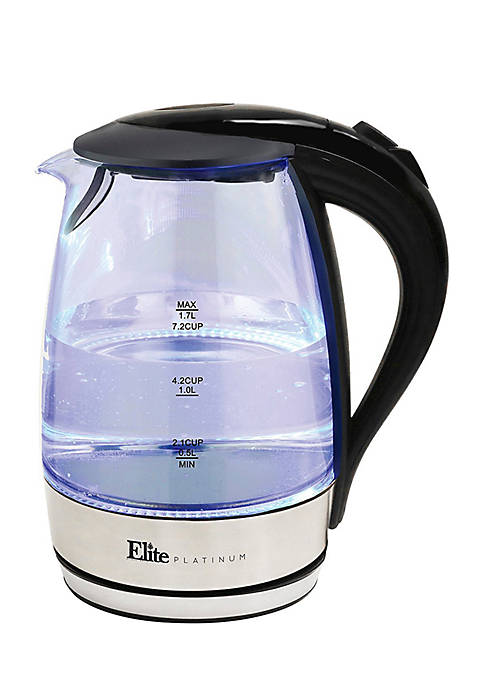 Elite Platinum 1.7 Liter Glass Cordless Electric Kettle