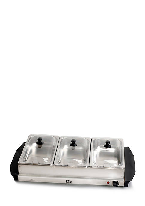 Elite Stainless Steel Three Tray Buffet Server Slot