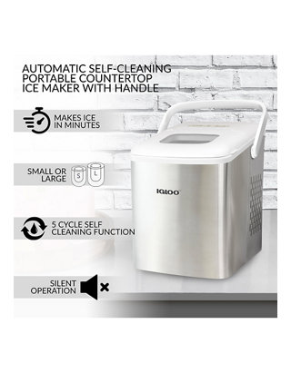 Igloo 26 Pound Automatic Self Cleaning Portable Countertop Ice Maker Machine With Handle Stainless Steel White Belk