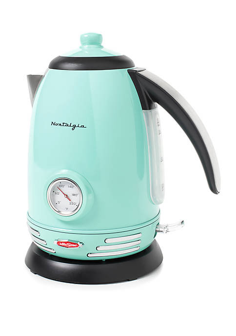 Retro Series 1.7-Liter Stainless Steel Electric Water Kettle, Aqua