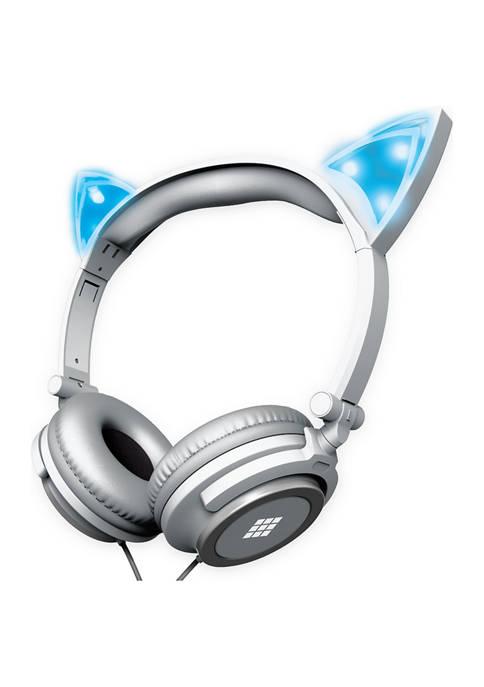 Kids Cat Ear Headphones with Light-up Ears