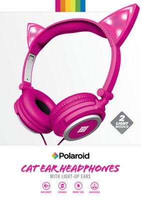 Polaroid Kids Cat Ear Headphones with Light-up Ears