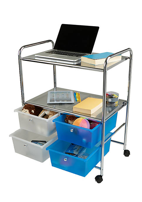 MindReader Double Shelf Trolley with Drawers
