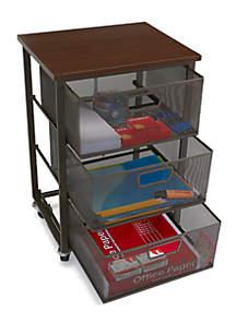 Three Tier Metal Mesh Drawer Mobile Cart