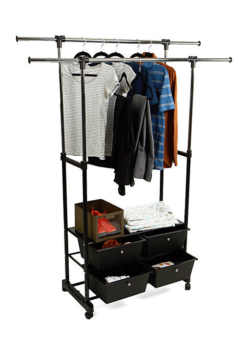 MindReader Double Garment Rack with Bottom Drawers