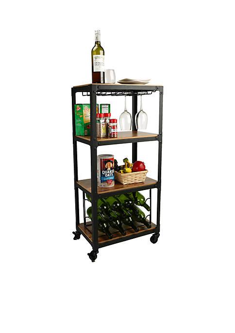 Four Tier Wood Metal Cart with Wine Rack