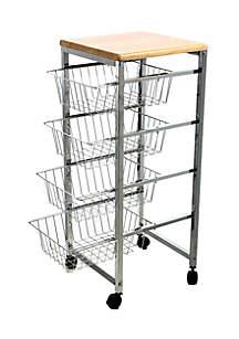 4-Tier Wire Basket Cart
