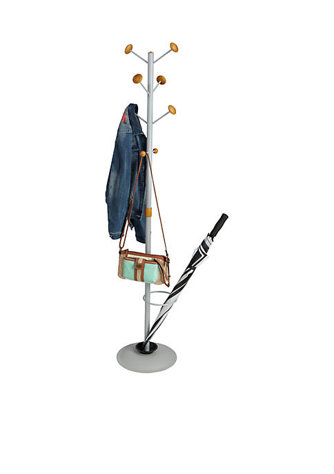 MindReader Eight Hook Coat Rack Umbrella Holder