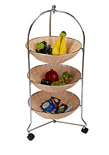 Rolling Cart with 3-Tier Round Straw Baskets