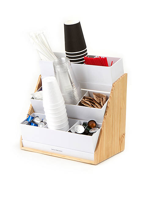 MindReader 9 Compartment Condiment Organizer with Wood Base