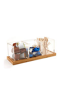 Four-Piece Acrylic Condiment Organizer Bamboo Base
