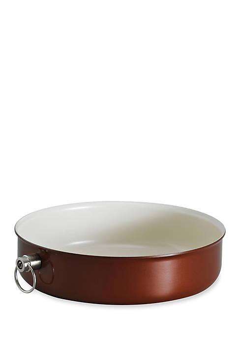 Style 9.5-in. Metallic Copper Ceramica 01 Round Baking Dish