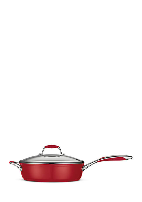 Gourmet 11-in. Deluxe Ceramica 01 Metallic Red Covered Deep Skillet - Online Only