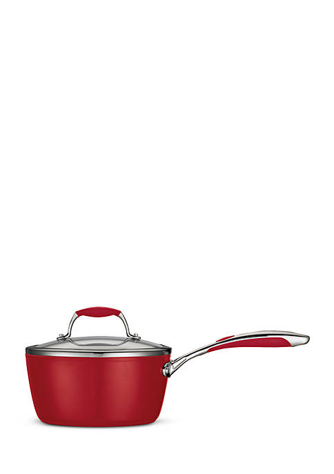 Gourmet 3-qt. Deluxe Ceramica 01 Metallic Red Covered Saucepan