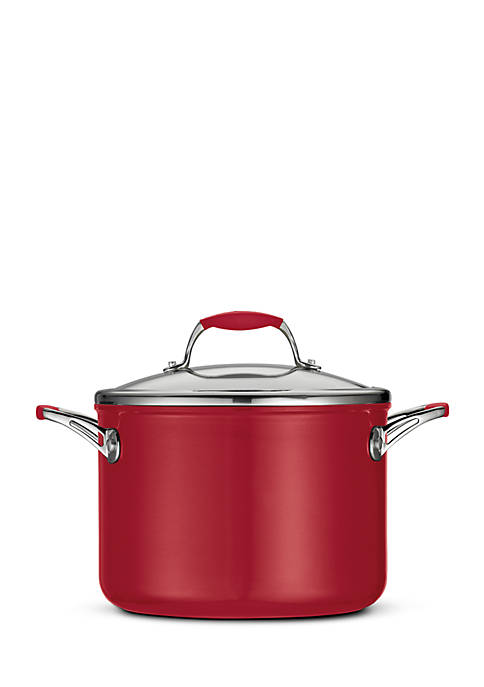 Gourmet 6-qt. Deluxe Ceramica 01 Metallic Red Covered Stock Pot - Online Only