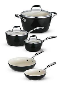 Gourmet 8-Piece Deluxe Ceramica 01 Metallic Black Cookware Set - Online Only