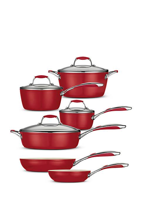 Gourmet 10-Piece Deluxe Ceramica 01 Metallic Red Cookware Set