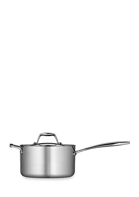 Gourmet Tri-Ply Clad 18/10 Stainless Steel Induction-Ready 4-qt. Covered Saucepan