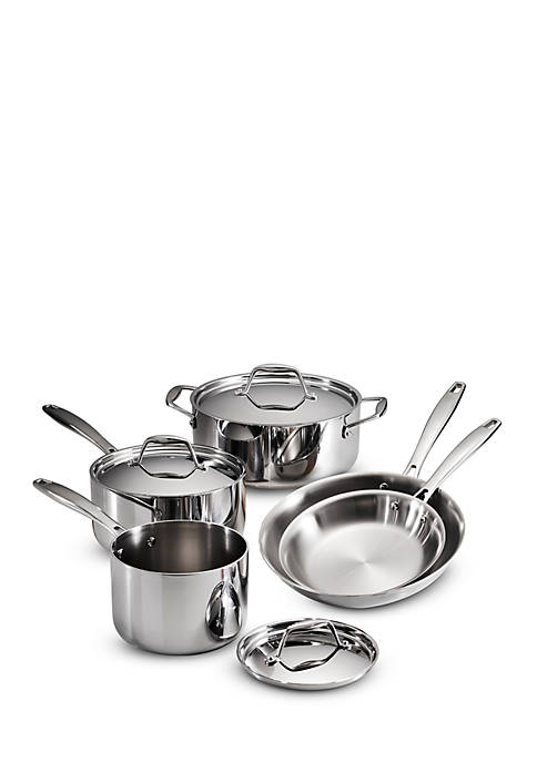 Gourmet Tri-Ply Clad 18/10 Stainless Steel Induction-Ready 8-Piece Cookware Set - Online Only