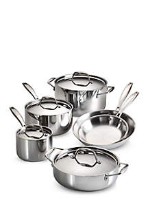 Gourmet Tri-Ply Clad 18/10 Stainless Steel Induction-Ready 10-piece Cookware Set - Online Only