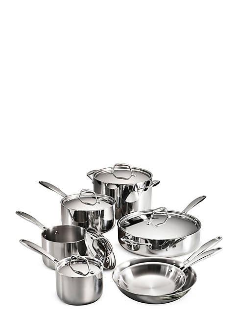 Gourmet Tri-Ply Clad 18/10 Stainless Steel Induction-Ready 12-Piece Cookware Set - Online Only