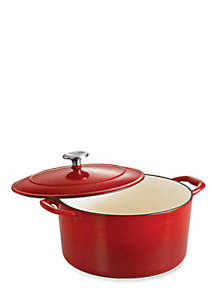Gourmet 3.5-qt. Red Enameled Cast Iron Covered Round Dutch Oven - Online Only