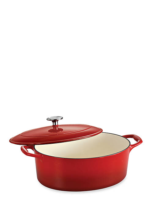 Gourmet 5.5-qt. Red Enameled Cast Iron Covered Oval Dutch Oven - Online Only