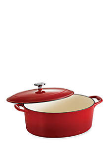 Gourmet 7-qt. Red Enameled Cast Iron Covered Oval Dutch Oven - Online Only