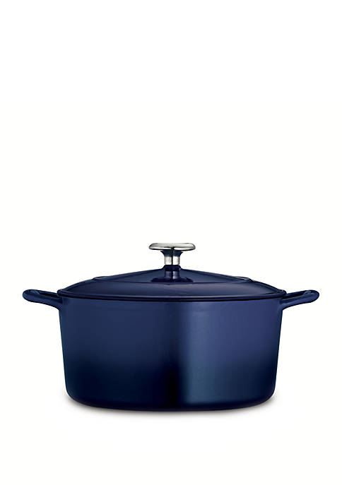 Gourmet 5.5-qt. Cobalt Enameled Cast Iron Covered Round Dutch Oven - Online Only